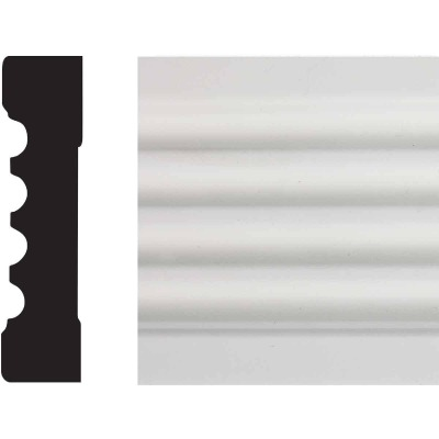 House of Fara 3/4 In. W. x 3 In. H. x 8 Ft. L. White MDF Fluted Casing Molding