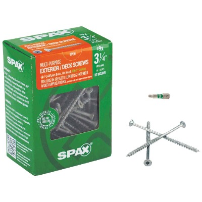 Spax #9 x 3-1/4 In. Flat Head Exterior Multi-Material Construction Screw (1 Lb. Box)