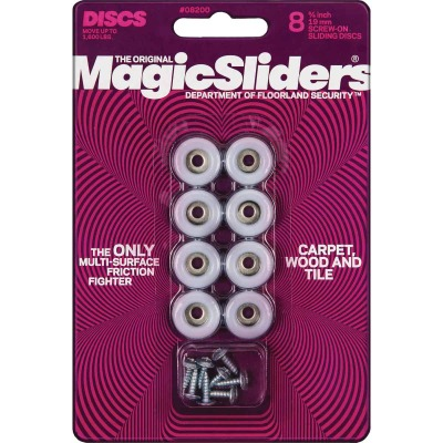Magic Sliders 3/4 In. Round Screw on Furniture Glide,(8-Pack)