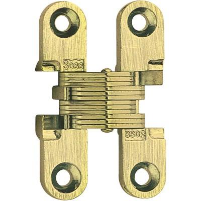 SOSS Satin Brass 3/8 In. x 1 In. Invisible Hinge, (2-Pack)
