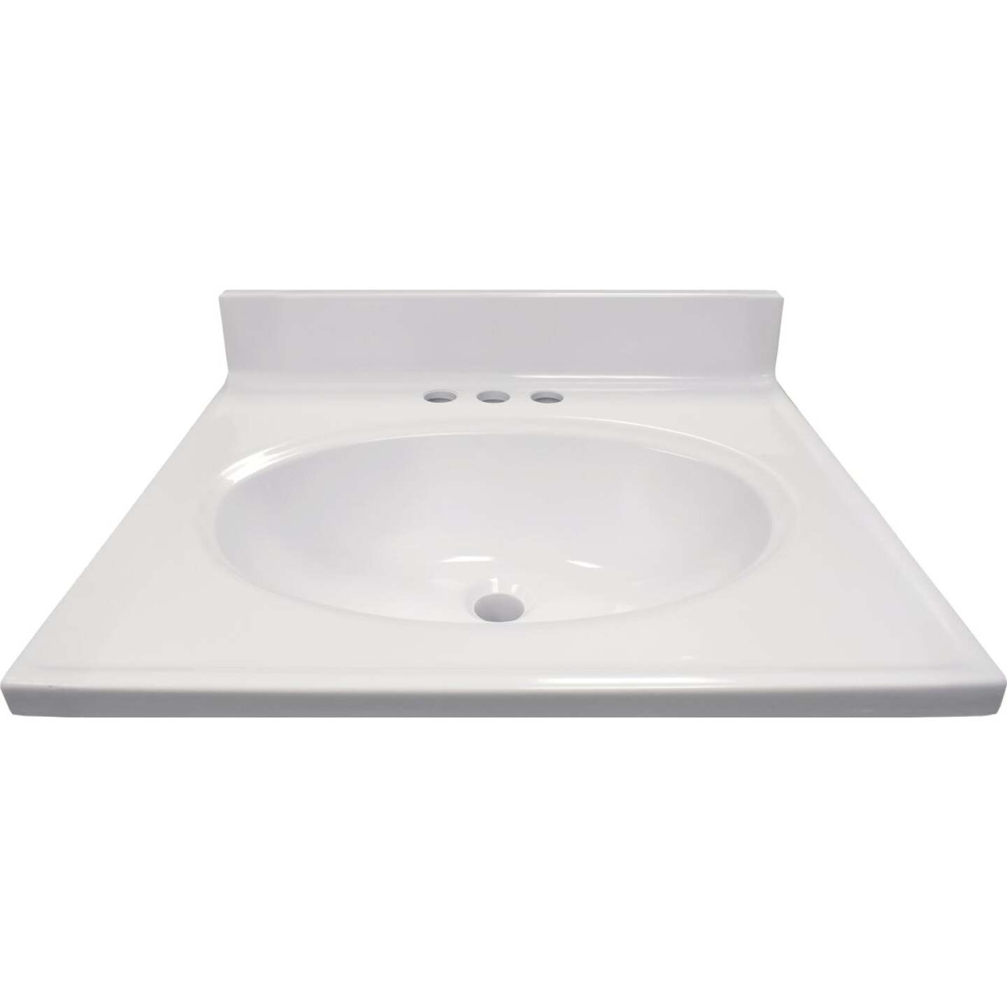 Modular Vanity Tops 19 In. W x 17 In. D Solid White Cultured Marble Vanity Top with Oval Bowl Image 2