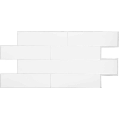 Smart Tiles 10.88 In. x 22.56 In. Glass-Like Plastic Backsplash Peel & Stick, Oslo White Subway Tile (2-Pack)