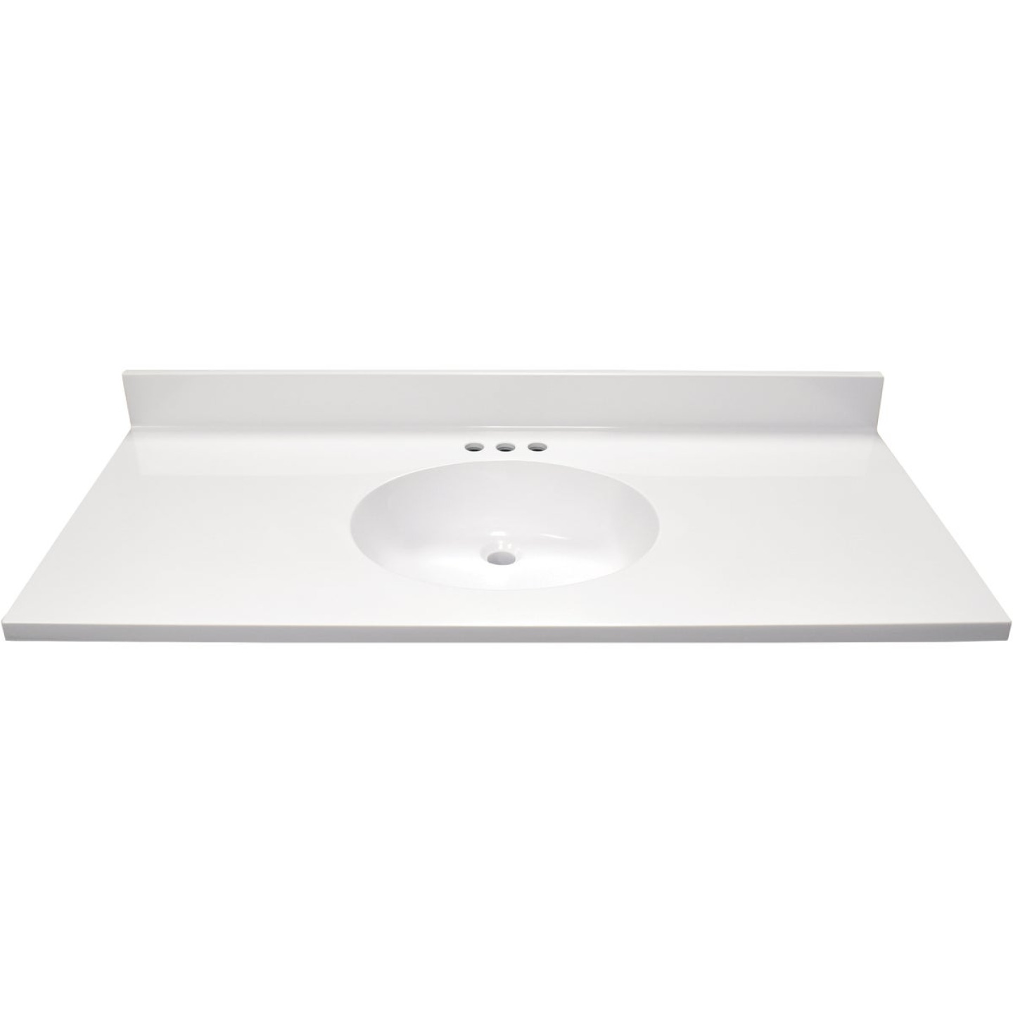 Modular Vanity Tops 49 In. W x 22 In. D Solid White Cultured Marble Flat Edge Vanity Top with Oval Bowl Image 2