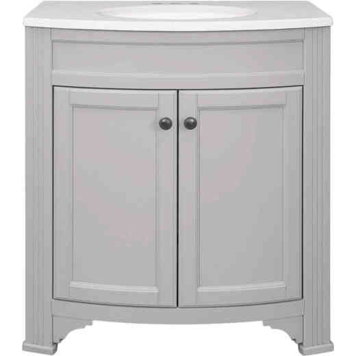 Continental Cabinets Duval Gray 30-1/2 In. W x 34-3/8 In. H x 18-3/4 In. D Vanity with Arctic White Top