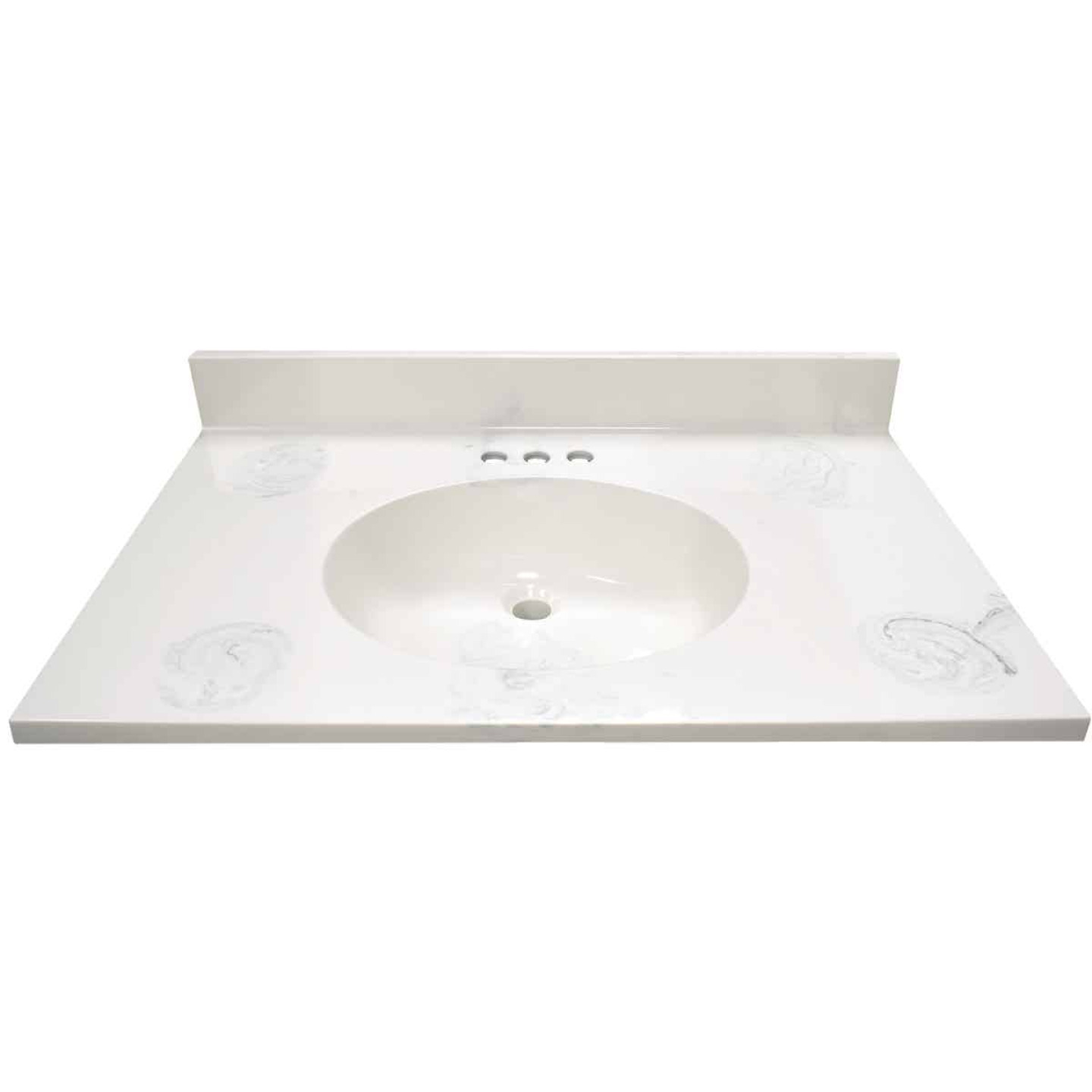 Modular Vanity Tops 31 In. W x 22 In. D Marbled Dove Gray Cultured Marble Flat Edge Vanity Top with Oval Bowl Image 2