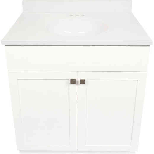 Modular Charleston White 36 In. W x 34-1/2 In. H x 21 In. D Vanity with White Cultured Marble Top