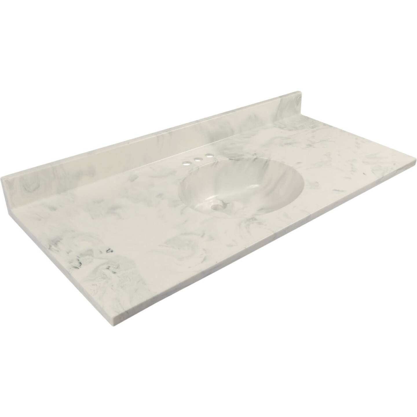 Modular Vanity Tops 49 In. W x 22 In. D Marbled Dove Gray Cultured Marble Vanity Top with Oval Bowl Image 1