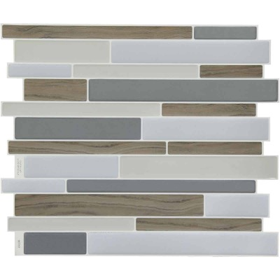 Smart Tiles 9.63 In. x 11.55 In. Glass-Like Plastic Backsplash Peel & Stick, Milano Argento Mosaic (6-Pack)