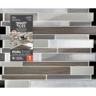 Smart Tiles 9.63 In. x 11.55 In. Glass-Like Plastic Backsplash Peel & Stick, Milano Argento Mosaic Image 2