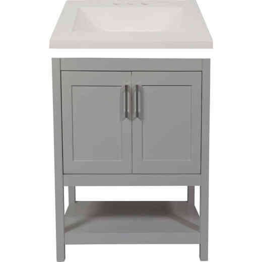 Modular Monaco Gray 24 In. W x 34-1/2 In. H x 18 In. D Vanity with White Cultured Marble Top