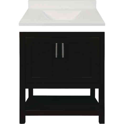 Modular Monaco Espresso 30 In. W x 34-1/2 In. H x 21 In. D Vanity with White Cultured Marble Top