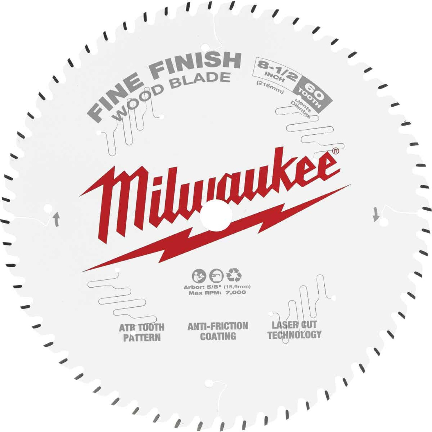 Milwaukee 8-1/2 In. 60-Tooth Fine Finish Circular Saw Blade Image 1