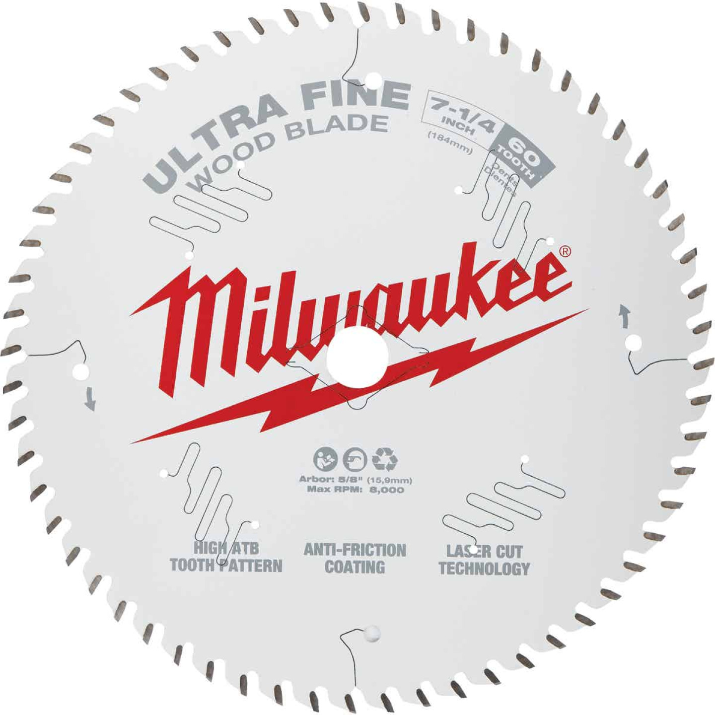 Milwaukee 7-1/4 In. 60-Tooth Ultra Fine Finish Circular Saw Blade, Bulk Image 1