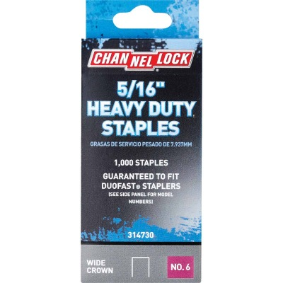 Channellock No. 6 Heavy-Duty Wide Crown Staple, 5/16 In. (1000-Pack)