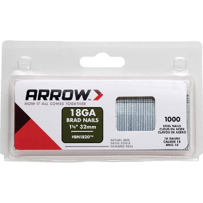 Arrow 18-Gauge Steel Brad Nail, 1-1/4 In. (1000-Pack)