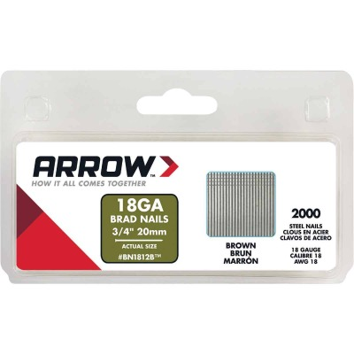Arrow 18-Gauge Brown Steel Brad Nail, 3/4 In. (2000-Pack)