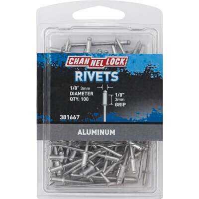 Channellock 1/8 In. Dia. x 1/8 In. Grip Aluminum Multigrip POP Rivet (100-Pack)