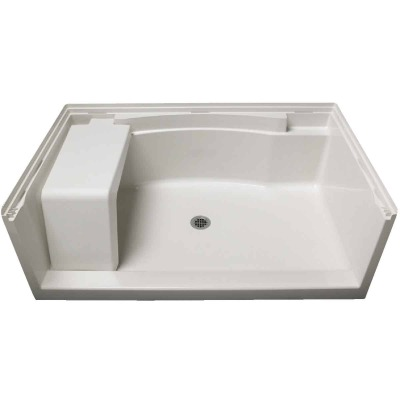 Sterling Accord 60 In. W x 36 In. D Center Drain Seated Shower Floor & Base in White