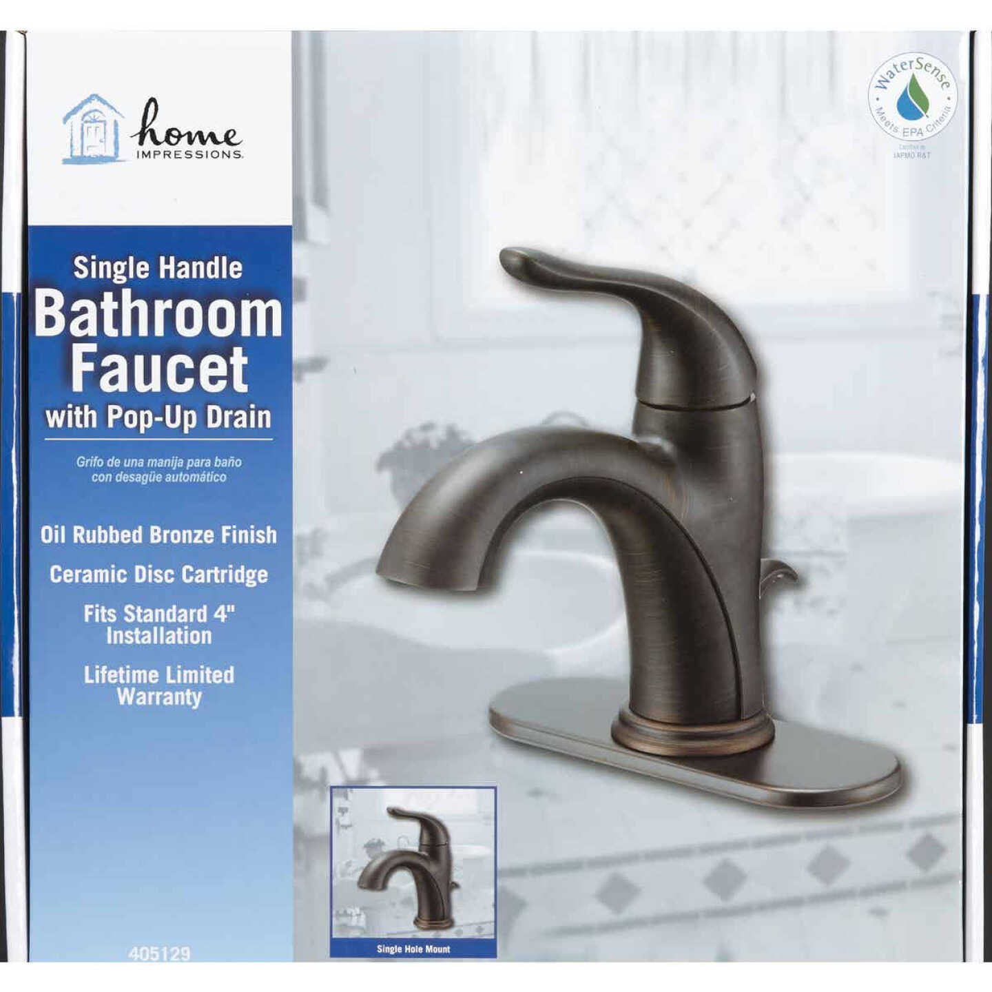 Home Impressions Oil-Rubbed Bronze 1-Handle Lever 4 In. Centerset Bathroom Faucet with Pop-Up Image 2