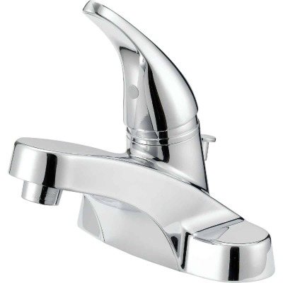 Home Impressions Chrome 1-Handle Lever 4 In. Centerset Bathroom Faucet with Pop-Up