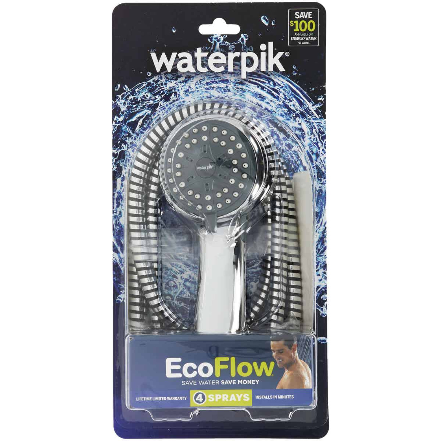 Waterpik EcoFlow 3-Spray 1.6 GPM Handheld Shower, Chrome Image 3