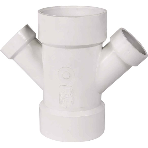 Charlotte Pipe 3 In. x 1-1/2 In. Schedule 40 DWV PVC Reducing Double Wye