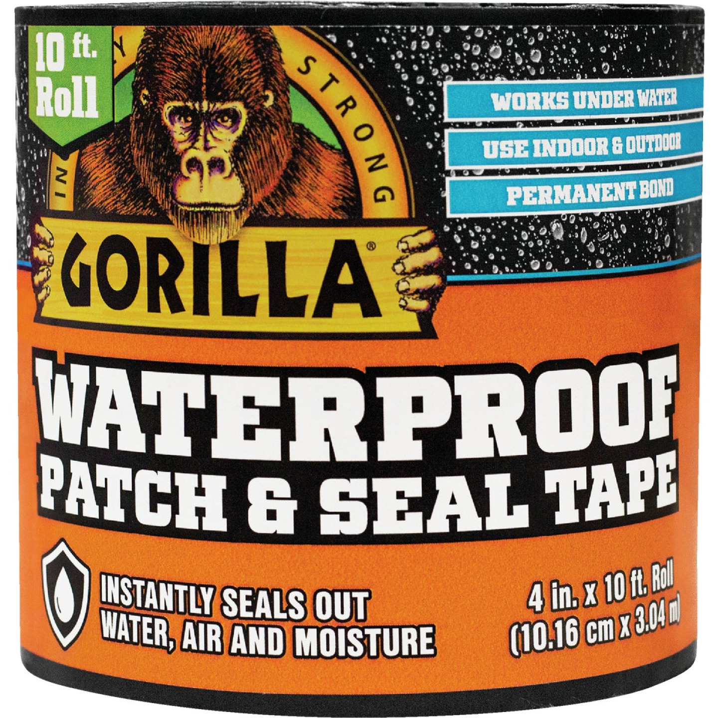 Gorilla 4 In. x 10 Ft. Waterproof Patch & Seal Repair Tape, Black Image 1