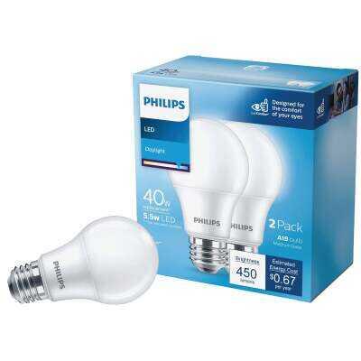 Philips 40W Equivalent Daylight A19 Medium LED Light Bulb (2-Pack)