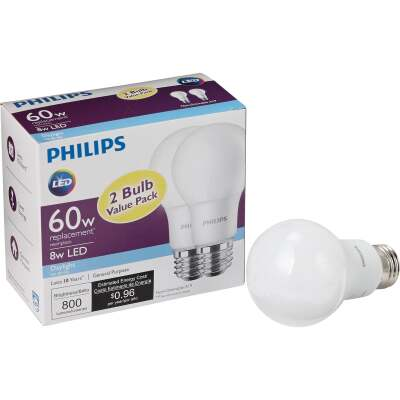 Philips 60W Equivalent Daylight A19 Medium LED Light Bulb (2-Pack)
