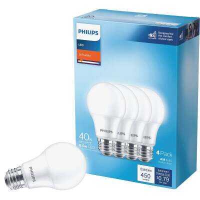 Philips 40W Equivalent Soft White A19 Medium LED Light Bulb (4-Pack)