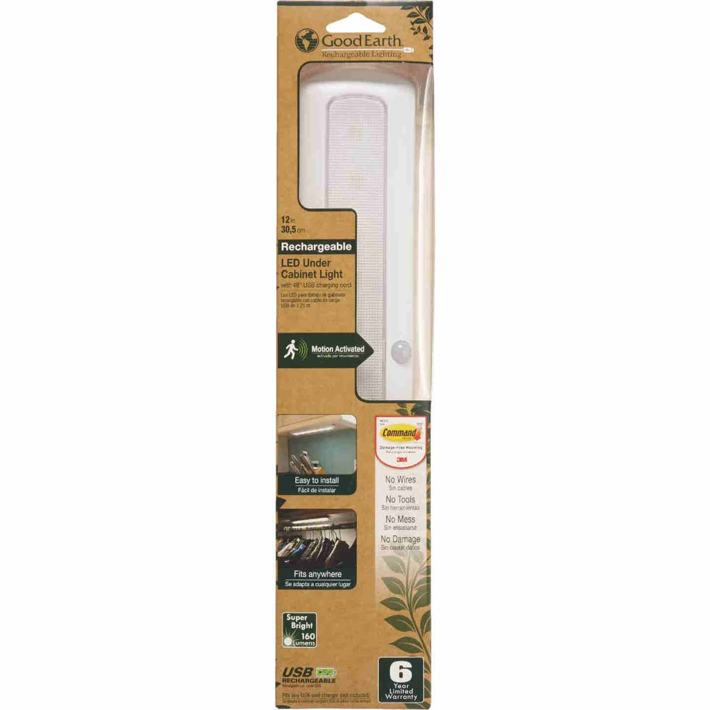 Good Earth Lighting White LED Rechargeable Battery Operated Strip Light Image 2