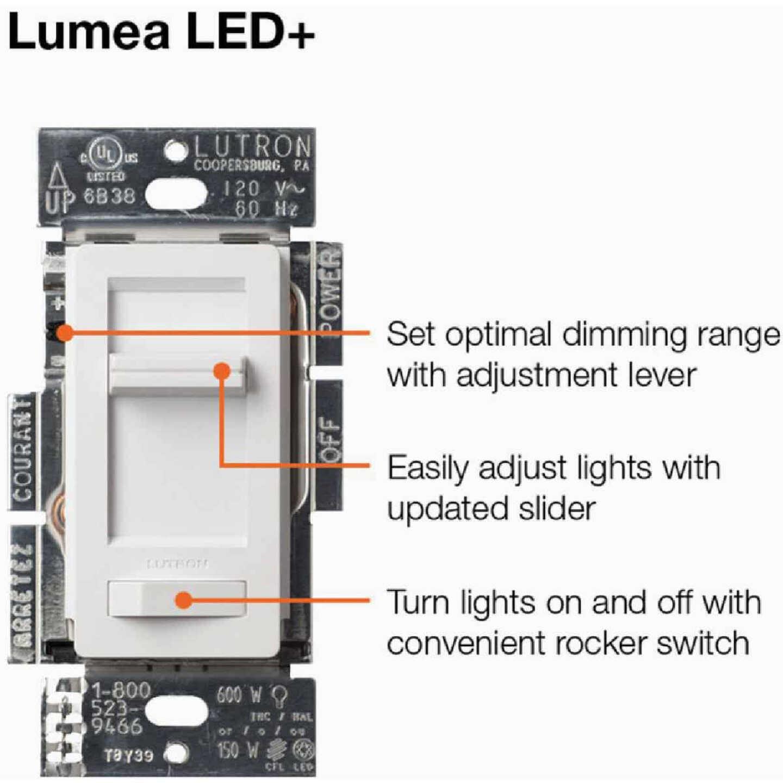 Lutron Lumea Incandescent/Halogen/LED/CFL White Slide Dimmer Switch Image 7