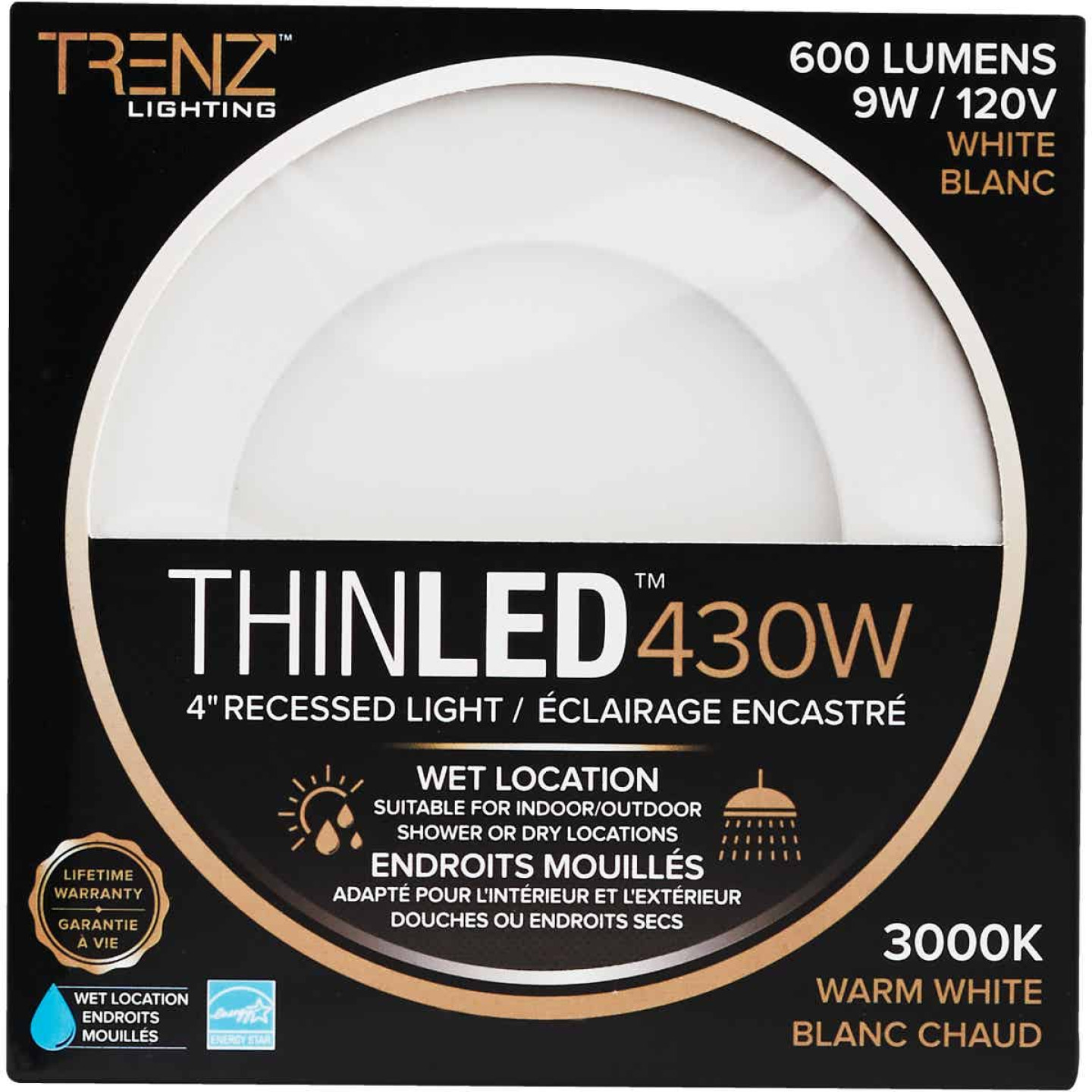 Liteline Trenz ThinLED 4 In. New Construction/Remodel IC Rated White 600 Lm. 3000K Recessed Light Kit Image 2