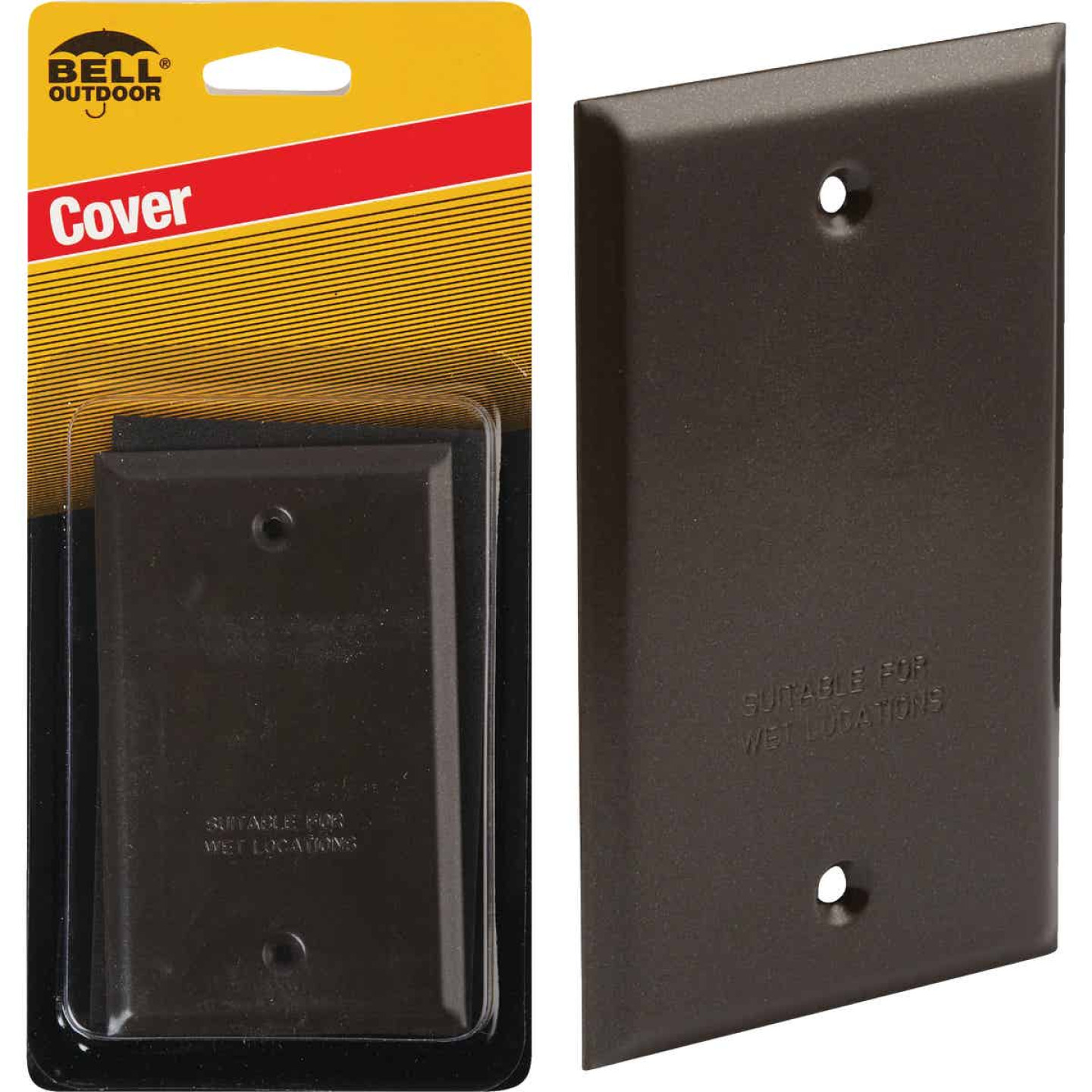 Bell Single Gang Rectangular Die-Cast Metal Bronze Blank Outdoor Box Cover Image 1