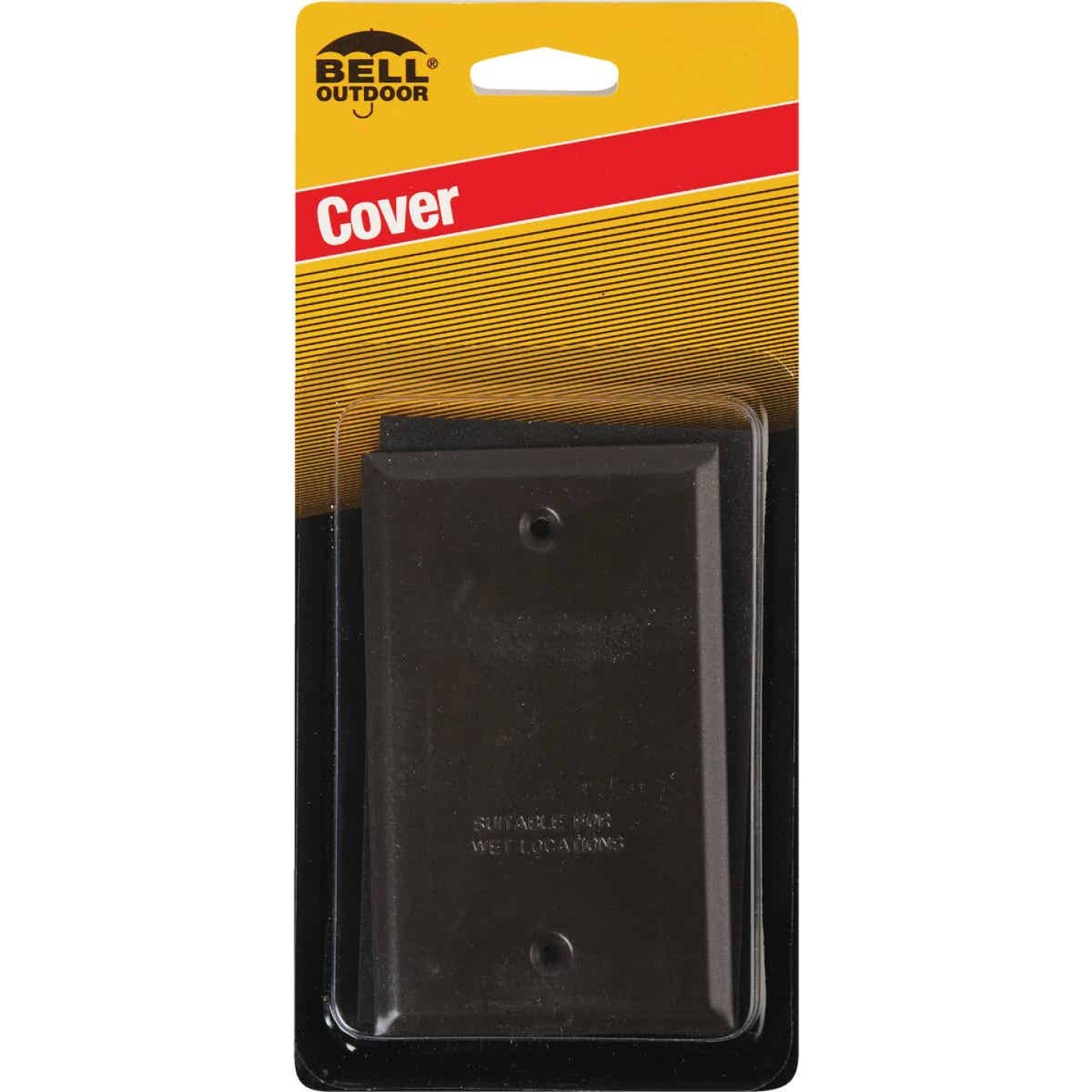 Bell Single Gang Rectangular Die-Cast Metal Bronze Blank Outdoor Box Cover Image 2