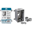 Bell Single Gang 1/2 In.,3/4 In. 3-Outlet Gray PVC Weatherproof Outdoor Outlet Box Image 1