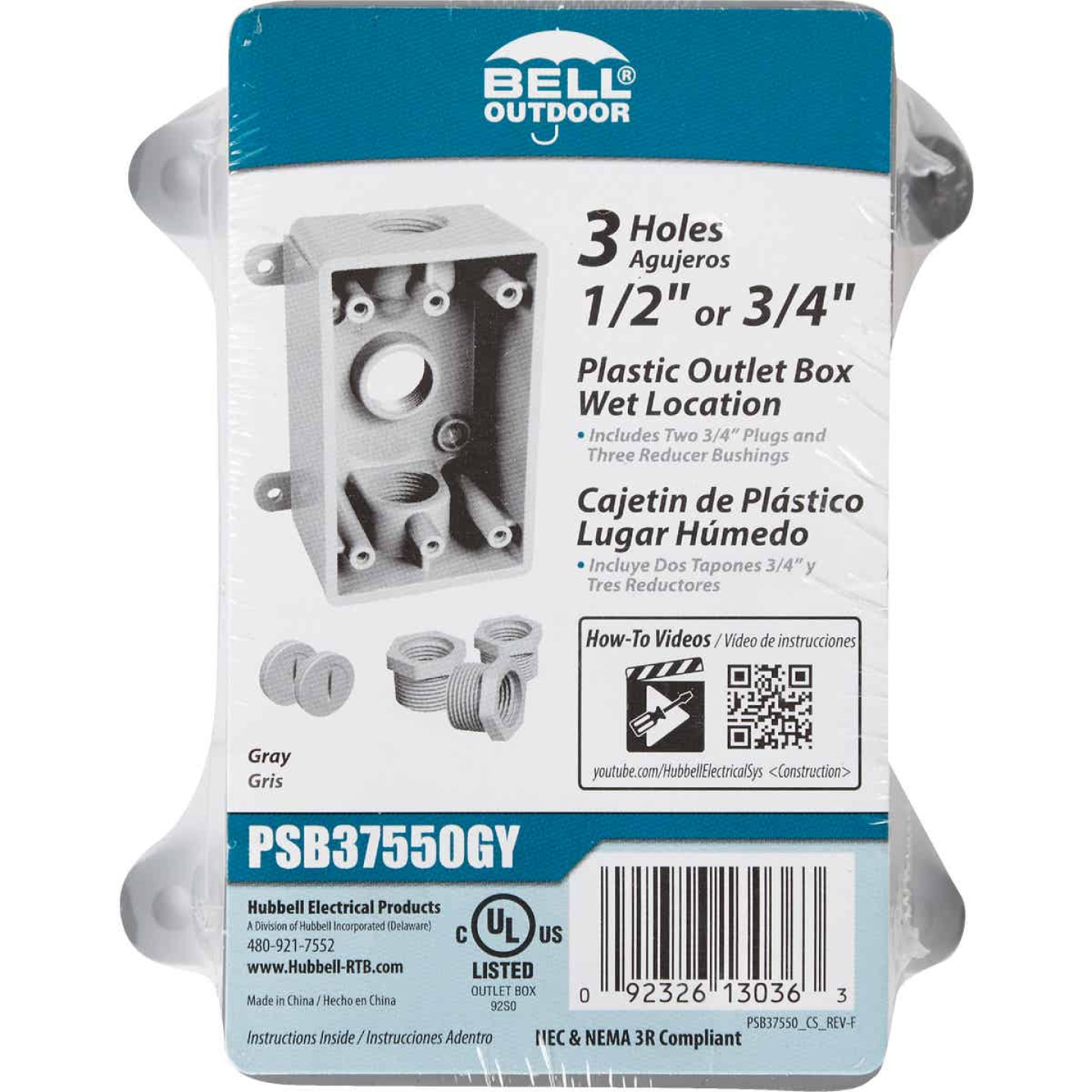 Bell Single Gang 1/2 In.,3/4 In. 3-Outlet Gray PVC Weatherproof Outdoor Outlet Box Image 2