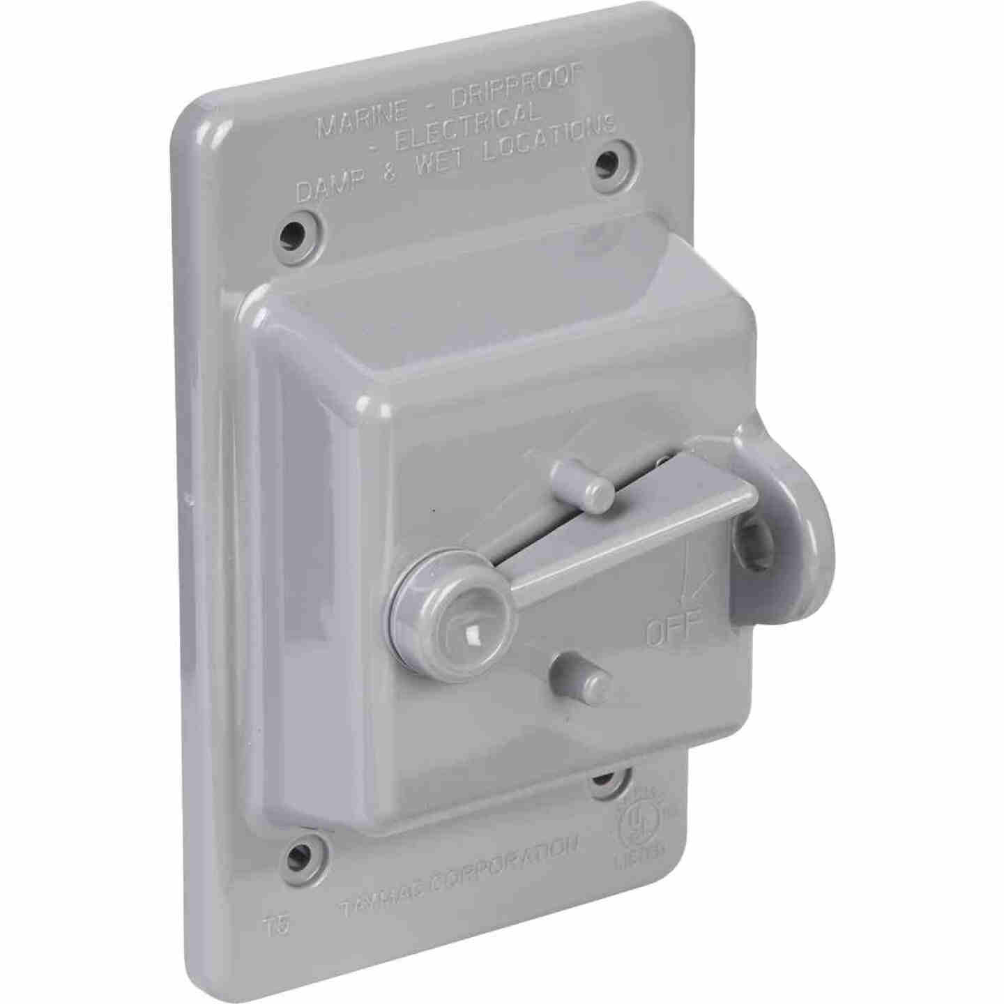 Bell Gray Single Gang Vertical Mount Weatherproof Polycarbonate Outdoor Switch Cover Image 3