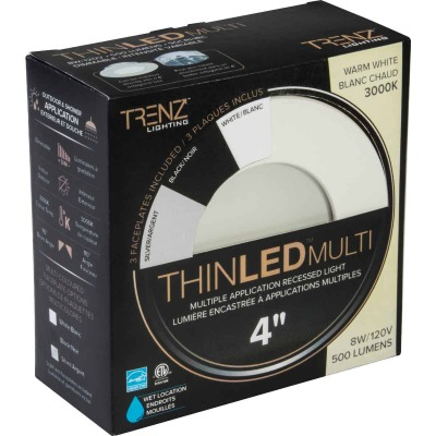 Liteline Trenz ThinLED 4 In. New Construction/Remodel IC Rated 3000K Multi-Trim Recessed Light Kit