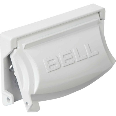 Bell Single Gang Multi-Configuration Die-Cast Metal White Outdoor Outlet Cover