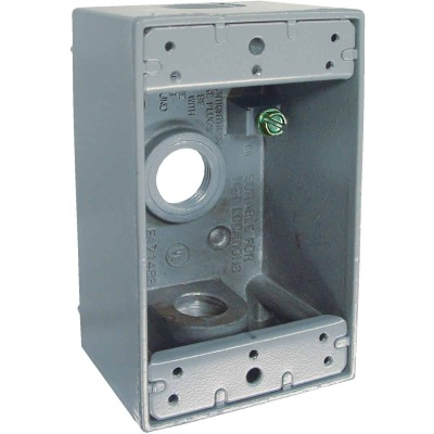 Bell Single Gang 1/2 In. 3-Outlet Gray Aluminum Weatherproof Outdoor Outlet Box, Carded