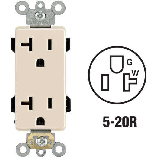 Leviton Decora Plus 20A Light Almond Residential Grade 5-20R Duplex Outlet