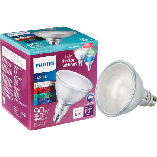 Philips SceneSwitch Indoor/Outdoor 90W Equivalent Bright White PAR38 Medium LED Floodlight Light Bulb