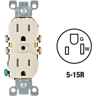 Leviton 15A Light Almond Tamper Resistant 5-15R Duplex Outlet