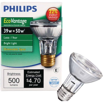 Philips EcoVantage 50W Equivalent Clear Medium Base PAR20 Halogen Spotlight Light Bulb