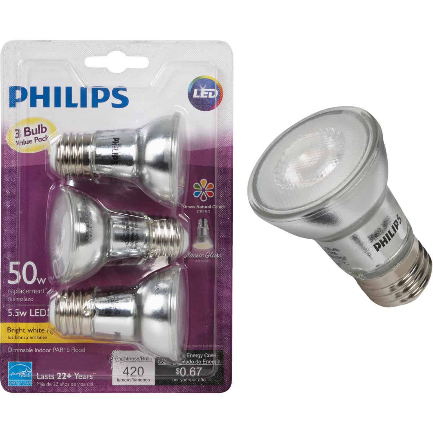 Philips 50W Equivalent Bright White PAR16 Medium Dimmable LED Floodlight Light Bulb (3-Pack) Image 1