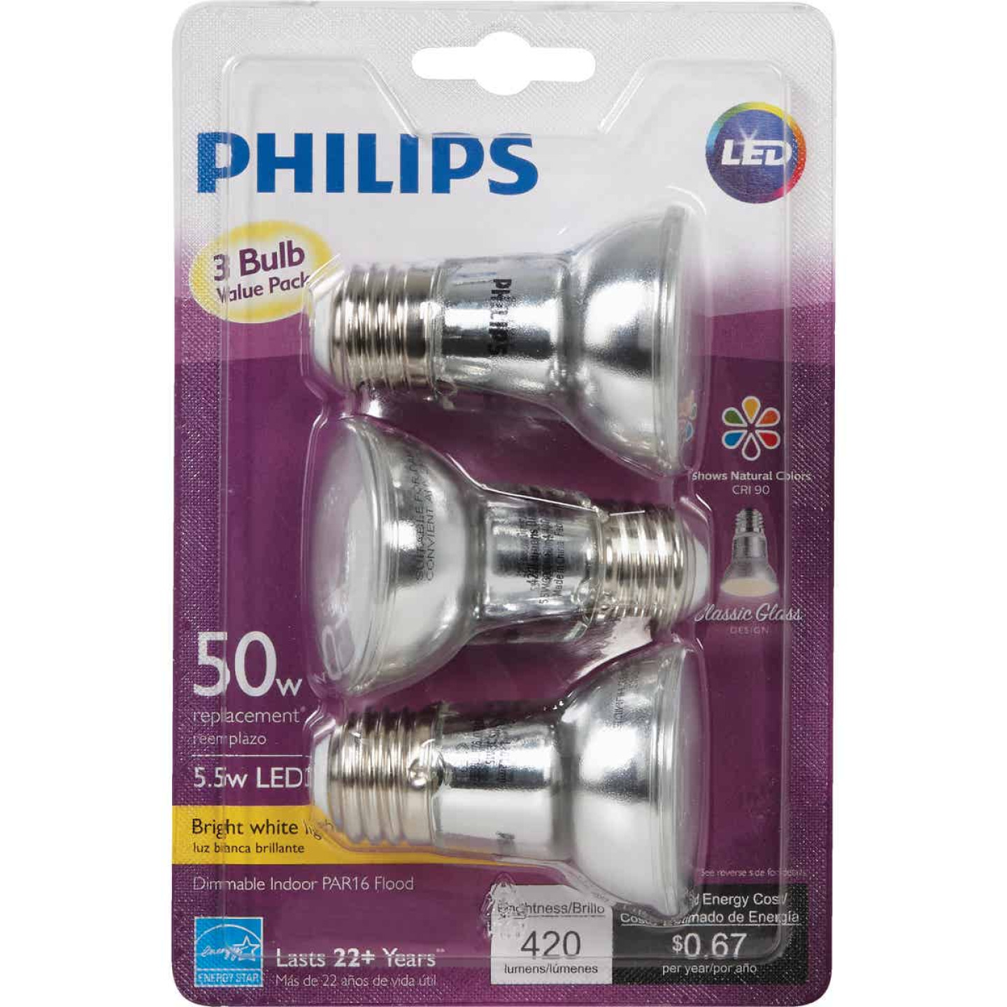 Philips 50W Equivalent Bright White PAR16 Medium Dimmable LED Floodlight Light Bulb (3-Pack) Image 2