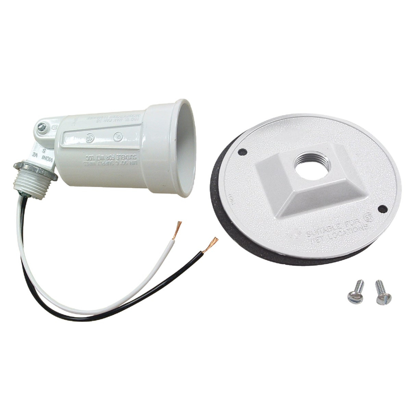 Bell White 150W Die-Cast Metal Round Weatherproof Single Outdoor Lampholder with Cover Image 1