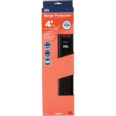 Do it Best 7-Outlet 1500J Black Computer, Phone, Or Fax Surge Protector Strip with 4 Ft. Cord
