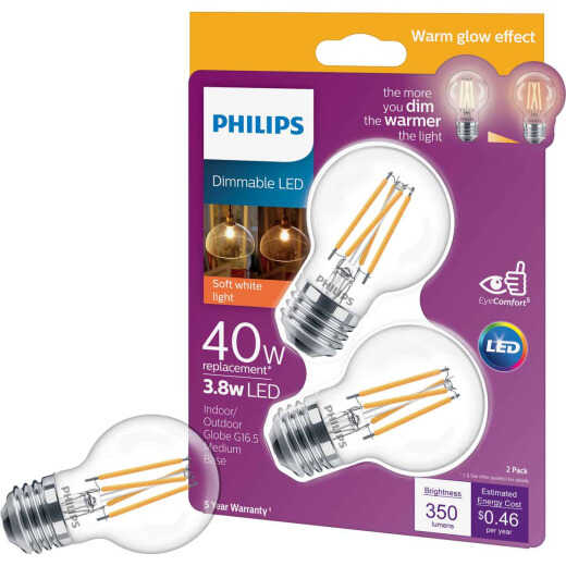 Philips Warm Glow 40W Equivalent Soft White G16.5 Medium Dimmable LED Decorative Light Bulb (2-Pack)